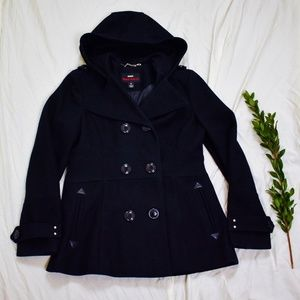 Miss Sixty Jackets & Coats - Miss Sixty M60 Black Wool Hooded Pea Coat G02